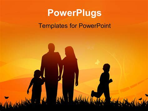 Powerpoint Template Family Enjoying In Garden With Sunset Family Powerpoint Templates