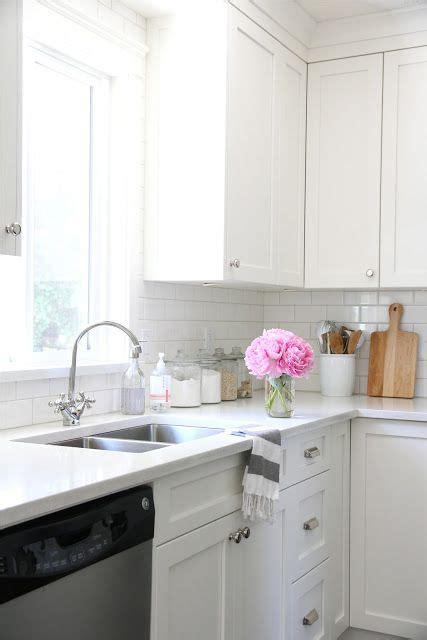 Bone Color Kitchen Cabinets Cabinets Benjamin Cloud White Subway Tile From Home Depot Flextile Grout In Bone Quartz