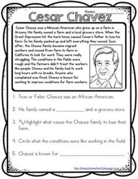 Cesar Chavez Worksheet by Cesar Chavez Reading Passage