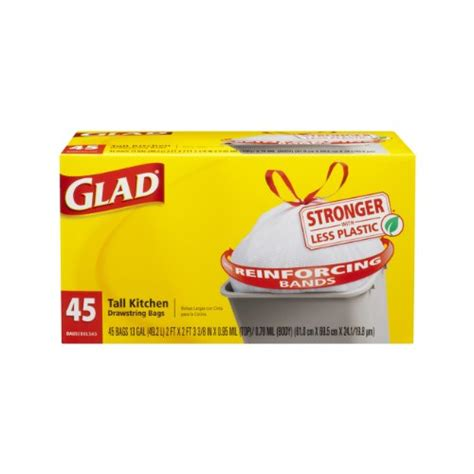 glad kitchen drawstring trash bags 13 gallon 45