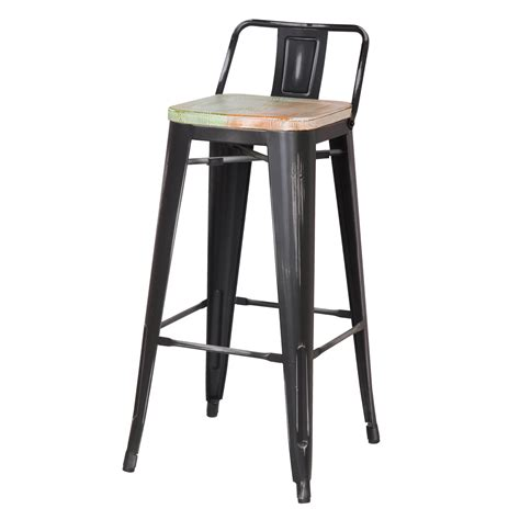 30 Inch Bar Stool With Back Joveco 30 Inches Distressed Metal Bar Stool With Low Back Set Of 2 Black With White Seat
