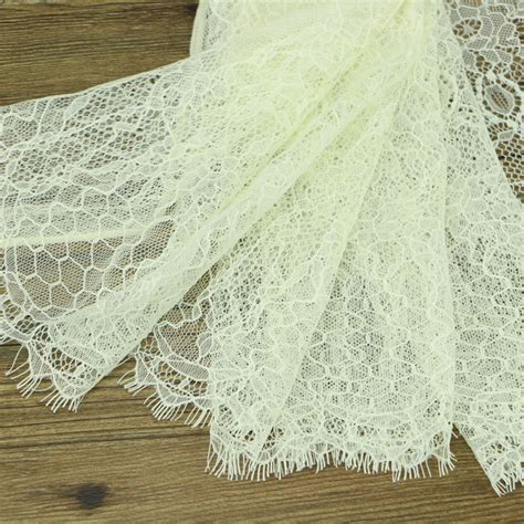 Handmade Lace Fabric - 3 yards a lot of beige eyelash lace 24cm lace lace