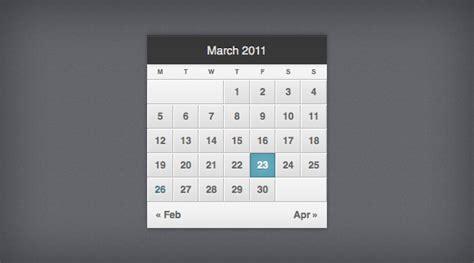 Css Calendar Pretty Calendar Css3