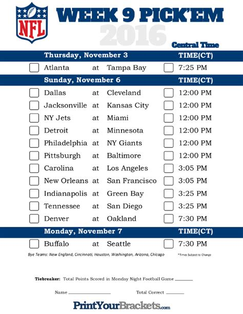 printable nfl schedule for this week central time week 9 nfl schedule 2016 printable
