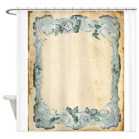 antique blue curtains vintage blue roses frame shower curtain by