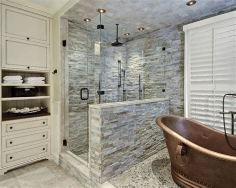 stacked stone bathroom stacked stone shower houzz