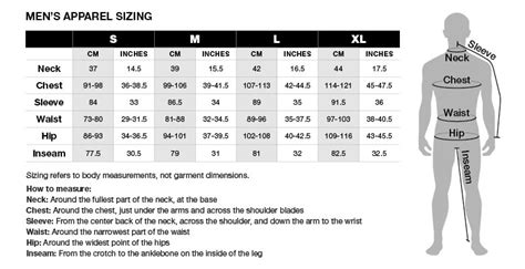 size chart men s apparel