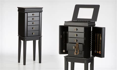 free standing mirrored jewelry armoire 59 99 for a linon standing jewelry armoire groupon