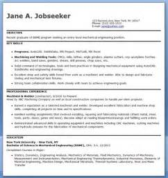 Resume Exles Entry Level Engineering Mechanical Engineering Resume Template Entry Level