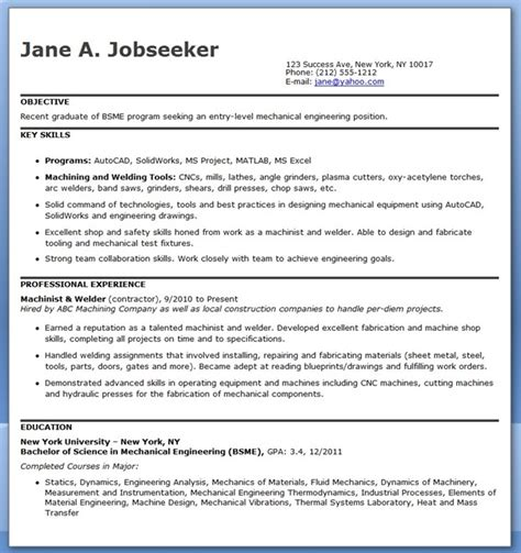 Mechanical Engineering Resume Templates by Mechanical Engineering Resume Template Entry Level