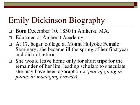 emily dickinson mini biography video ppt famous american poets powerpoint presentation id