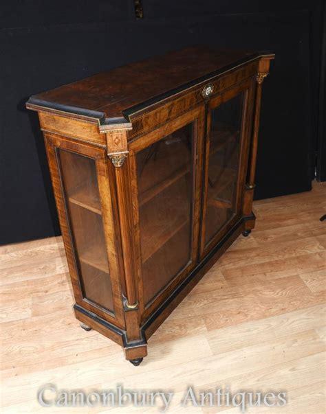 walnut pier cabinet glass display