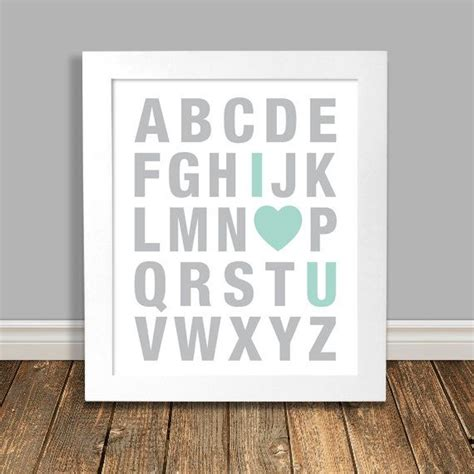 Mint Nursery Decor Mint Green Art Alphabet Art Alphabet Mint Nursery Decor