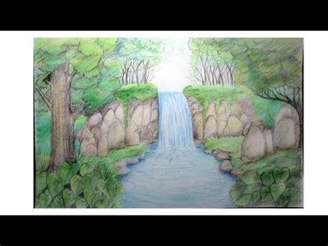 menggambar pemandangan alam air terjun youtube