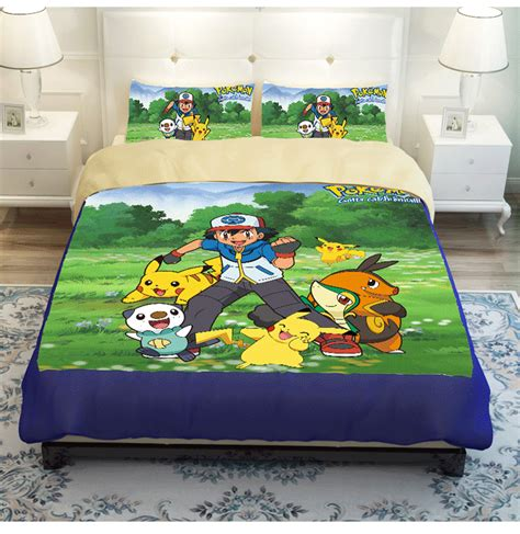 pokemon bed sheets full kids 3 4pcs pokemon bedding set twin full queen size