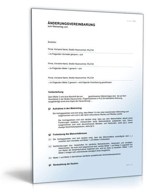 Kostenlose Vorlage Mietvertrag Haus 196 Nderungsvereinbarung Zum Mietvertrag
