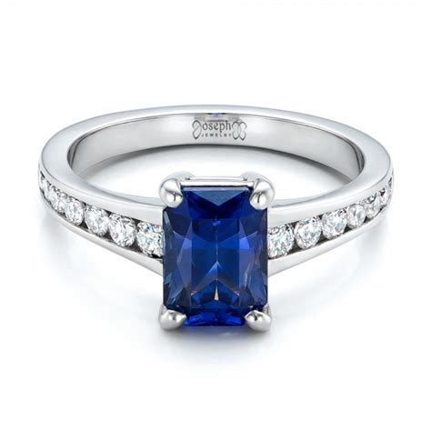 custom blue sapphire and engagement ring 100923