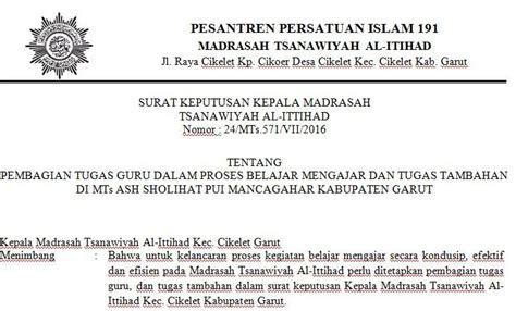 contoh surat keputusan kepala madrasah tentang