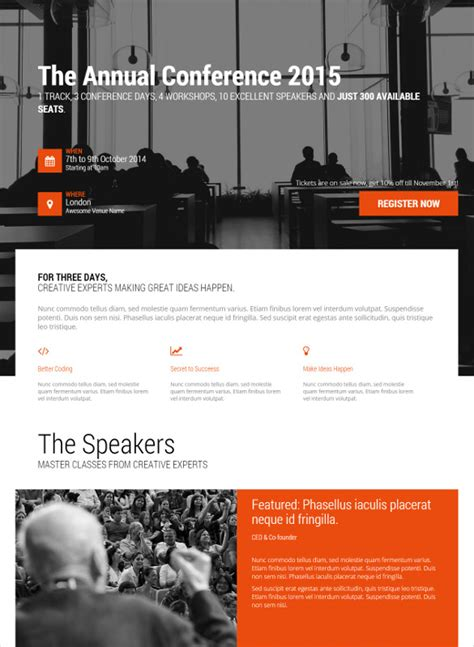 30 Html5 Landing Page Themes Templates Free Premium Templates Event Landing Page Template Free