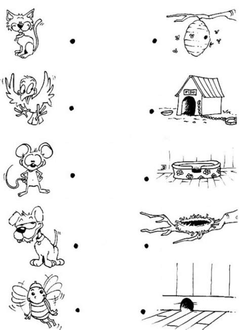 Animal Homes Coloring Pages link each animal with its house coloring pages hellokids