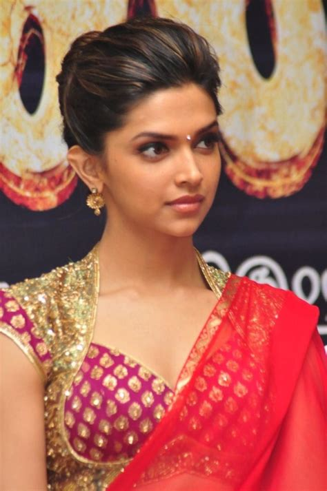 bollywood actress hairstyles in saree picture 8454 deepika padukone hot pics in red saree