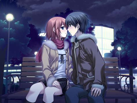 anime kiss cute anime couple ready for first sensual french kiss on a