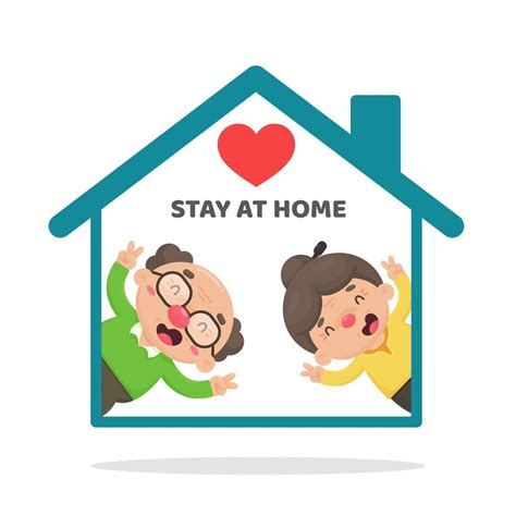 elderly people staying  home  cartoon style
