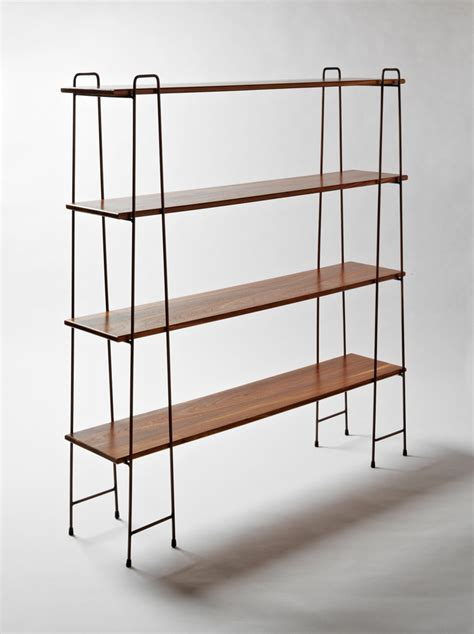 vintage wood and metal string shelving system for sale at plank shelf kiaat with antique copper jasper eales