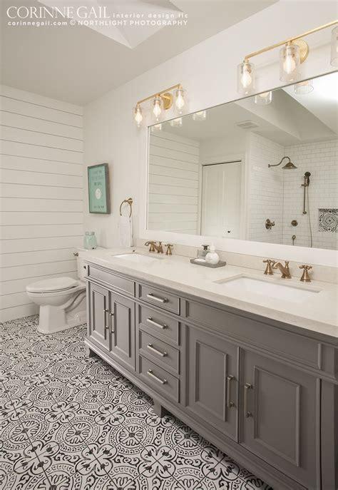 farmhouse modern ensuite master bath  patterned gray