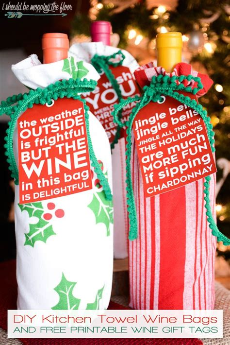 diy kitchen towel wine bags free printable towels and wi