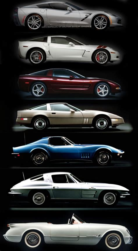 what was the year for the corvette corvette timeline c1 c2 c3 c4 c5 c6 c7 cars