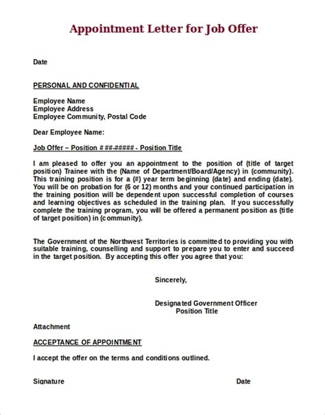 job offer letter samples ms word