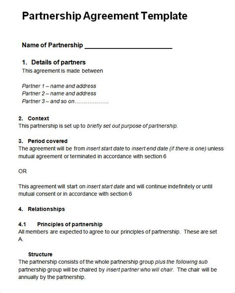 business agreements templates sle partnership agreement 13 free documents