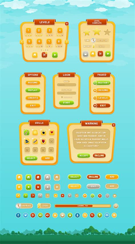 game layout psd mobile game gui psd design web elements psd file free