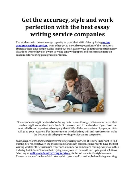 The Best Essay Writing Service by Get The Accuracy Style And Work Perfection With The Best Essay Writi