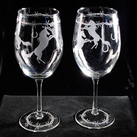 Etched Wine Glasses 2 Wine Glasses Etched Glass Wine Glasses With