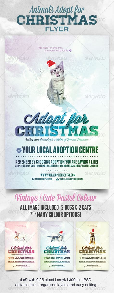 Animals Cats Dogs Adopt For Christmas Events Flyers Adopt Me Flyer Template