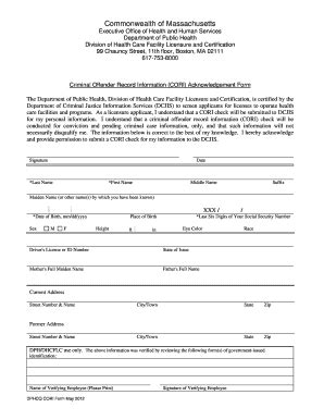 Criminal Offender Record Information Cori Acknowledgement Form Fill In Cori Application For Us Fill Printable Fillable Blank