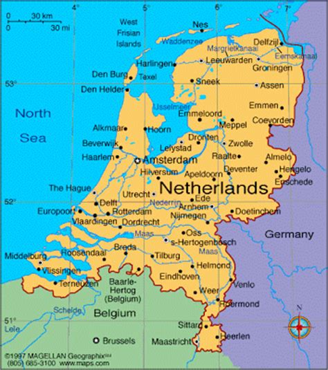 netherlands large map map of on europe area map of netherlands