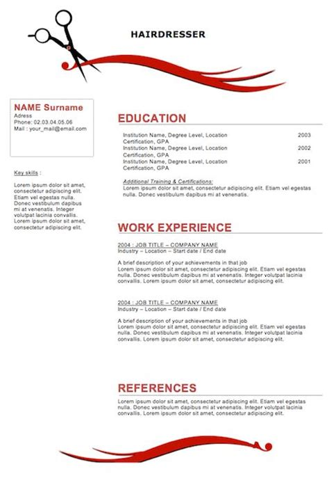 hair stylist resume template free sle resumes for hairstylist cosmetologist hairdresser