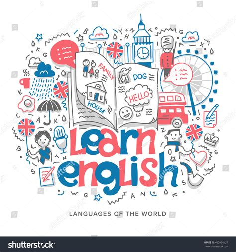 graphics design language doodle vector concept illustration learning english stock