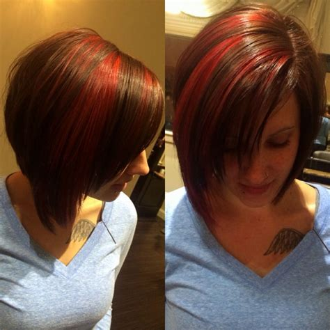 sexy bob haircut with chunky red highlites 44 best images about hairstyles i love on pinterest