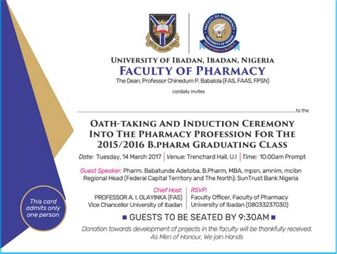 Of Ibadan Mba Programme by Ui Pharmacy Oath Taking Induction Ceremony Schedule 2015 16