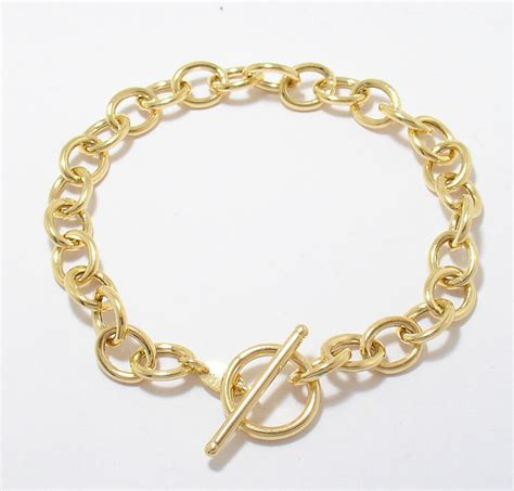 oval link charm bracelet toggle clasp real 14k yellow gold