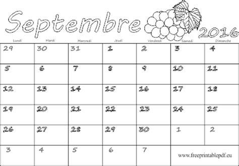 Calendrier 2016 Vierge Gratuit Septembre 2016 Calendrier Vierge Pour L Impression Et La