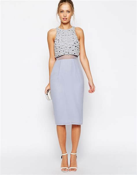 Embellished And Bejewelled Tops And Dresses by Asos Asos Pearl Embellished Crop Top Midi Dress At Asos