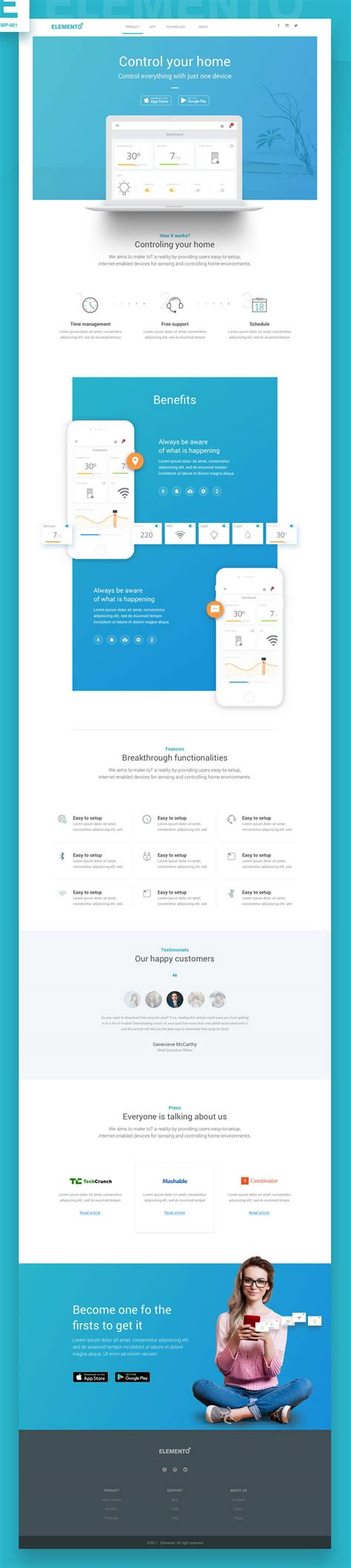 Elemento Startup Web Template Pinspiry Startup Website Template Free