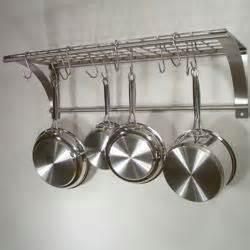 Pan Shelf With Hooks Epicure Stainless Steel Wall Mount Pot Rack Kitchen