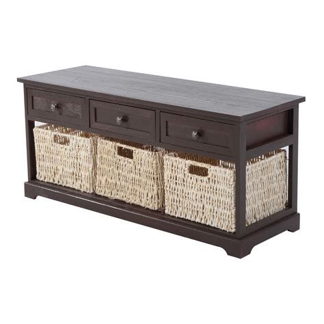 bench basket storage homcom 40 quot 3 drawer 3 basket storage bench benches