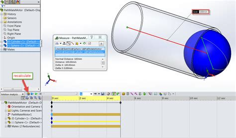 tutorial solidworks motion analysis how to update a path mate motor speed in a motion analysis